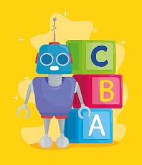 Kinderspielzeug, alphabetwürfel mit buchstaben a, b, c und robotervektorillustrationsdesign