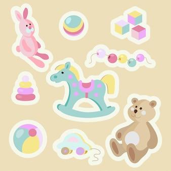 Kinderspielzeug cartoon pastell aufkleber set.