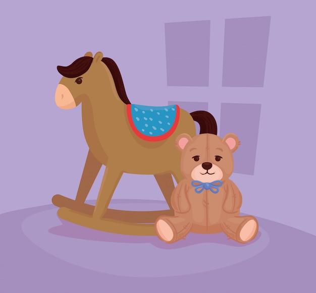 Kinderspielzeug, hölzernes schaukelpferd mit teddybär