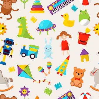 Kinderspielzeug illustration cartoon niedlich grafik spielen kindheit geschenk kindheit muster nahtlosen hintergrund