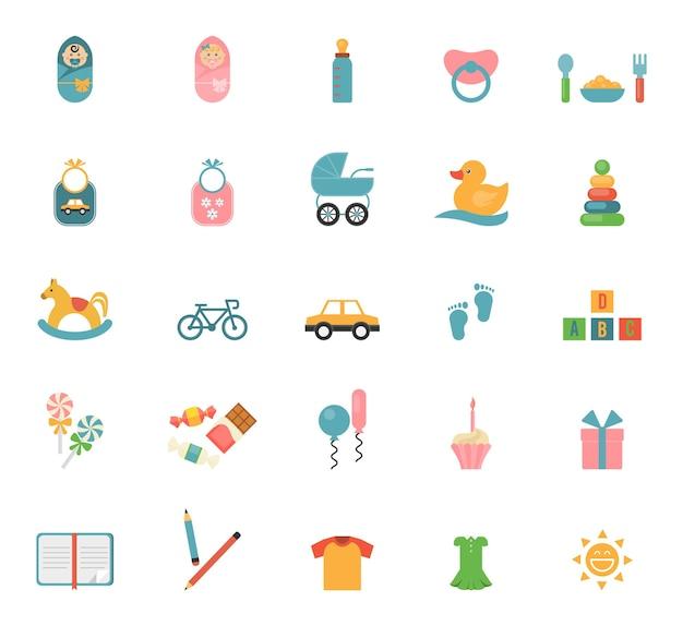 Kinderspielzeug im flachen stil. satz von symbolen zu einem thema von säuglingen und deren zubehör.
