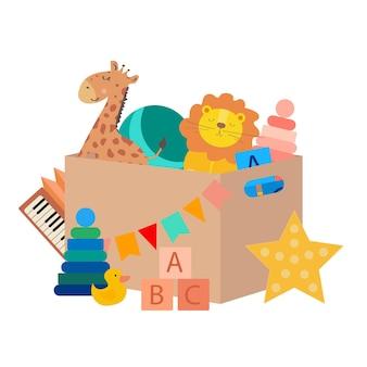 Kinderspielzeug in einer box giraffe löwenkugel pyramide ente sternförmiges nachtlicht