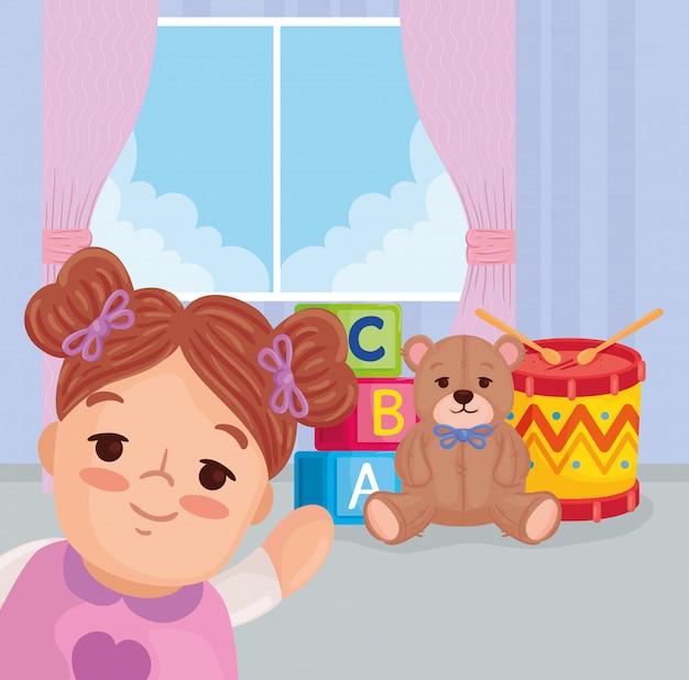 Kinderspielzeug, niedliche puppe mit spielzeug im schlafzimmervektorillustrationsdesign