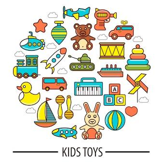 Kinderspielzeug oder kinderspielzeugvektorplakat