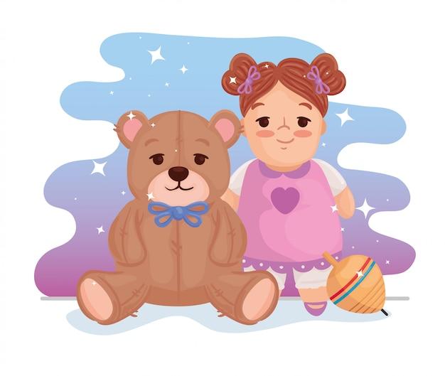 Kinderspielzeug, süße puppe mit teddybär und spinnspielzeug