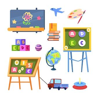 Kinderspielzeug und schreibtische ikonenvektor isoliert