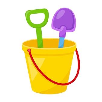 Kinderspielzeugeimer mit spachtel, vektorillustration