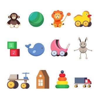 Kinderspielzeugset. bunte flache illustrationen.