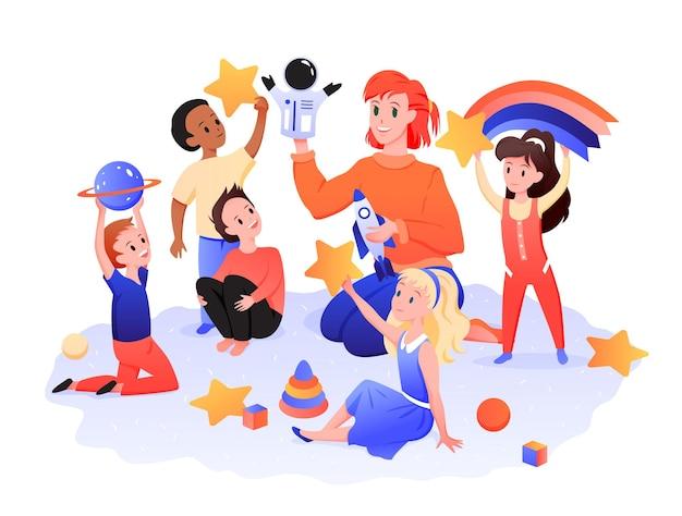 Kinderspielzimmer, kinder mit lehrer spielen in der kindergartenvektorillustration. cartoon-jungen-mädchen-kind- und kindermädchen-figuren, die mit weltraumspielzeug im kindergarten-kindergarten-vorschulzentrum isoliert auf weiß spielen