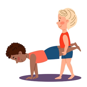 Kindersportgymnastik ein junge hält die beine eines anderen jungenpaares übungen für die hände