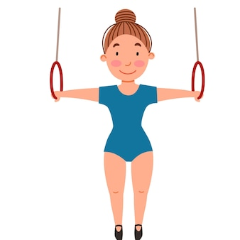 Kindersportgymnastik übung an den ringen