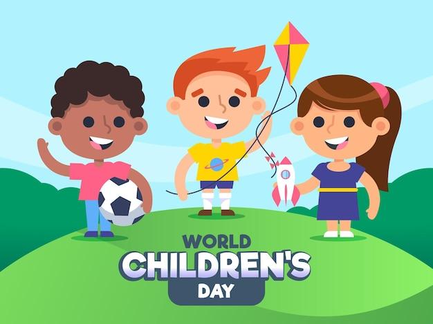 Kindertag der flachen entwurfswelt