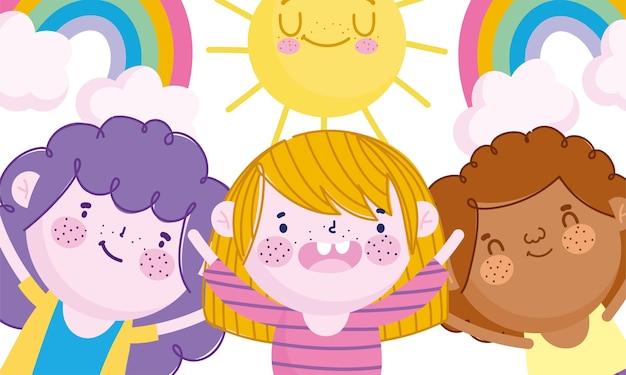 Kindertag, glückliche kleine jungenregenbogen und sonnenkarikaturvektorillustration