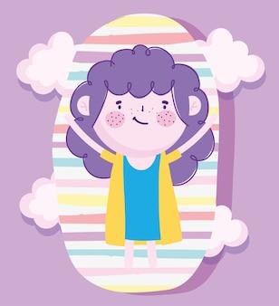 Kindertag, karikatur süßes mädchen mit lila haar und streifen hintergrund vektor-illustration