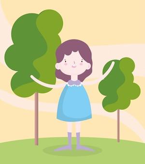 Kindertag, kleines mädchen mit blauem kleid im park