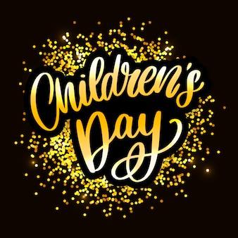 Kindertag schriftzug. happy children's day-titel. happy children's day inschrift.