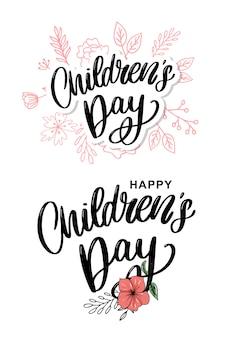 Kindertag schriftzug mit blumen