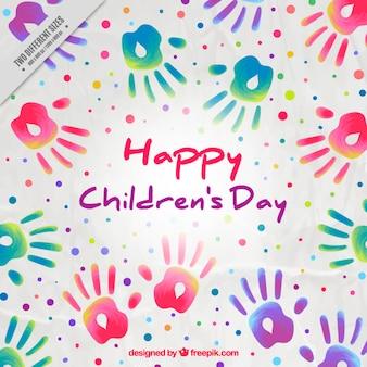 Kindertages Hintergrund der Farbe Handabdrücken