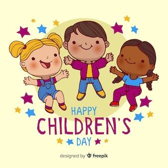 Kindertageshand gezeichnete tapete