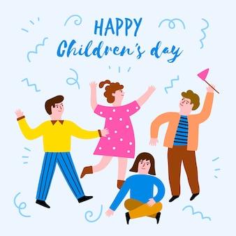 Kindertageskonzept in der hand gezeichnet