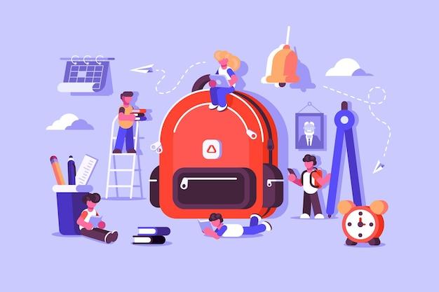 Kindertasche mit wichtigen sachen zum lernen. kinderschulrucksack mit unterrichtsausrüstung