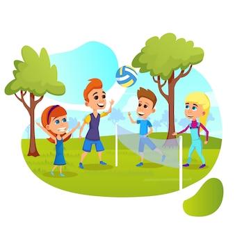 Kinderteams spielen volleyball auf dem feld oder im park.