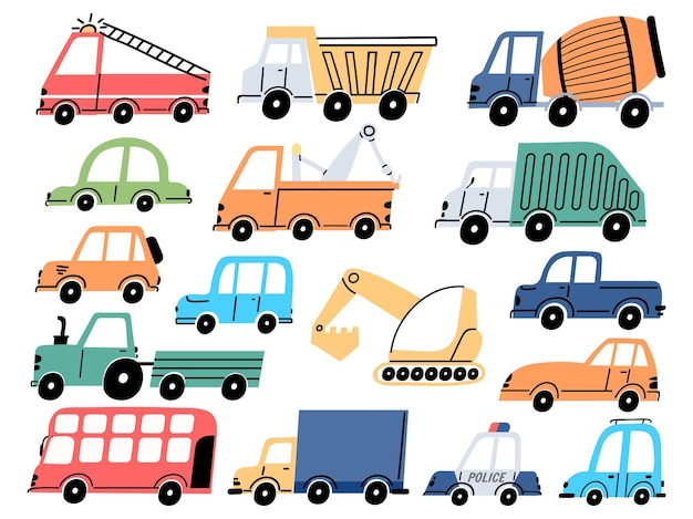 Kindertransport und autos, bautraktor, bagger und bagger. cartoon kinder feuerwehrauto, muldenkipper und polizeifahrzeug vektorset. industrie kindische transportelemente