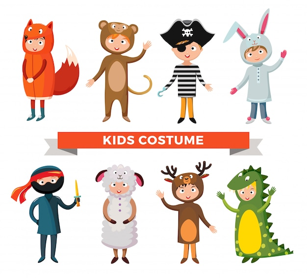 Kinderverschiedene kostüme lokalisierten vektorillustration