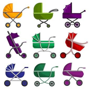 Kinderwagen-icon-set, cartoon-stil