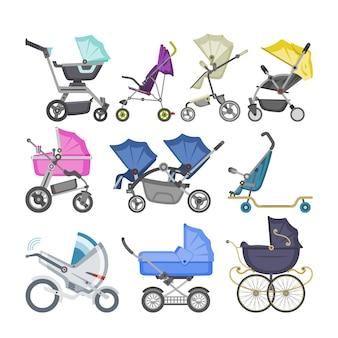 Kinderwagen und kinderwagen mit kinderwagen für kinder oder kindliche kutschenillustrationssatz des kinderwagens für neugeborene mit rad und griff auf weißem hintergrund