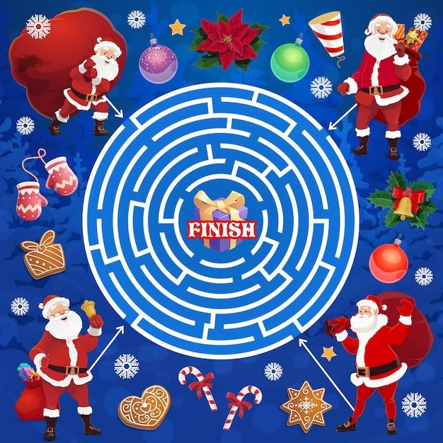 Kinderweihnachtsferienlabyrinthlabyrinth mit santa-charakter. logisches spiel für kinder, pädagogisches rätsel für kinder oder seitenvorlage für spielaktivitäten. weihnachtsmann mit sack, handschuhen und süßigkeiten cartoon-vektor