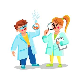 Kinderwissenschaftler, die chemischen experiment-vektor tun. kinderwissenschaftler, der chemische tests mit laborgeräten erforscht und analysiert. charaktere junge und mädchen flache cartoon-illustration