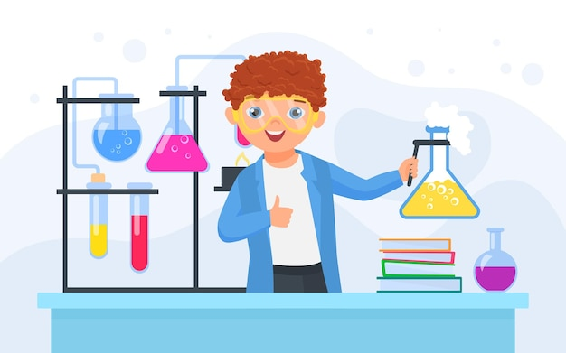 Kinderwissenschaftler im wissenschaftlichen chemischen experimentjungenchemiker, der laborflasche hält