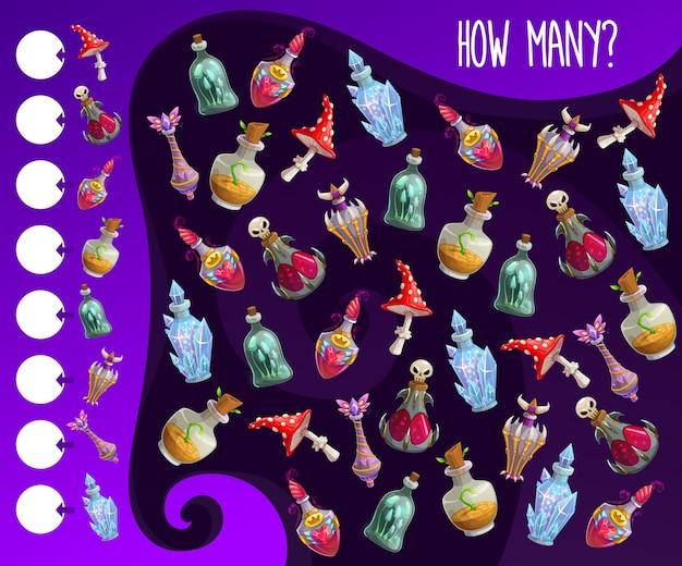 Kinderzählspiel mit zaubertränkeflaschen. kindererziehungsübung, kind, wie viele spielaktivitäten. cartoon-zauberer- oder hexentrank-gläser, liebeselixiere oder böse zaubersprüche in der flasche