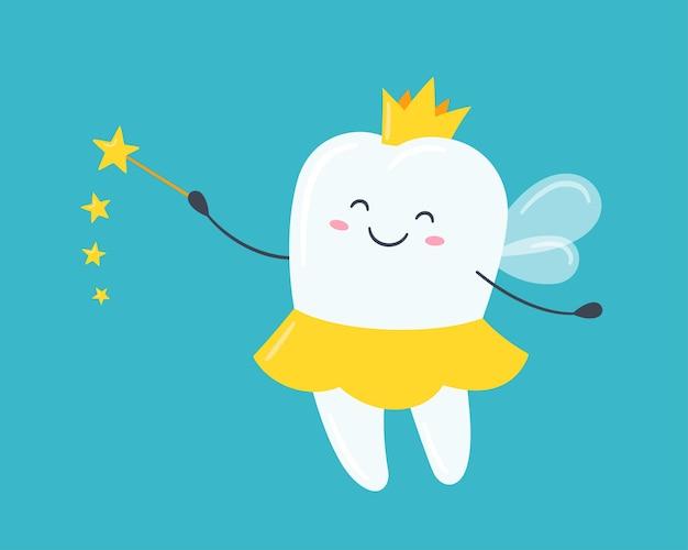 Kinderzahnfee. süßer zahn mit flügeln, einer krone und einem zauberstab. vektorillustration im cartoon-stil