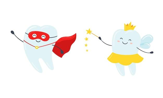Kinderzahnfee und superheld. süßer zahn mit flügeln, einer krone und einem zauberstab. glücklicher gesunder zahn in einem roten mantel. vektor-illustration im cartoon-stil auf weißem hintergrund