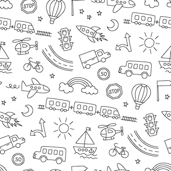 Kinderzeichnung von autos, zug, flugzeug, hubschrauber und rakete. doodle-transport. nahtloses muster im kinderstil. hand gezeichnete vektorillustration auf weißem hintergrund