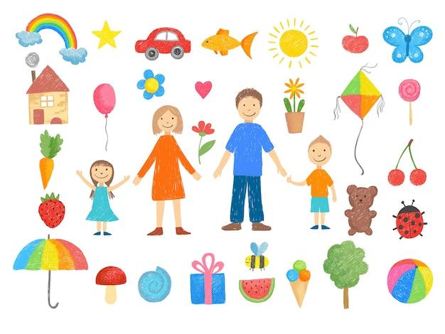 Kinderzeichnungen. wie man kleine kinder bleistiftfarbene buntstift handgezeichnete spielzeuge lächelnde völker lustige bilder illustrationen zeichnet. gezeichnete familie mutter vater mit kindern lächeln, spielzeug zeichnen