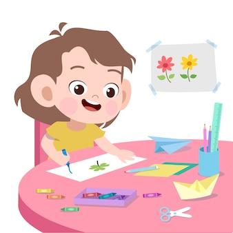 Kinderzeichnungs-vektorillustration lokalisiert