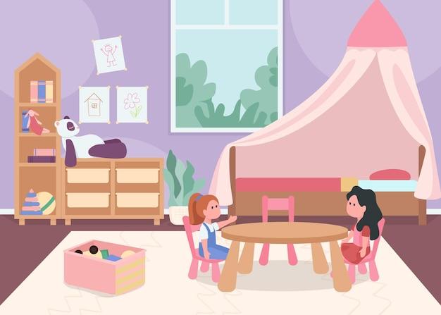 Kinderzimmer für weibliche kleinkinder flache farbe. gemütlicher wohnraum für kinder. spielzimmer für kind. kindergartenzimmer 2d-zeichentrickfiguren mit rosa möbeln und spielzeug