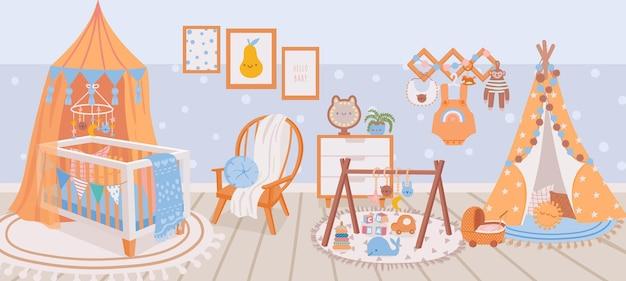 Kinderzimmer interieur. babyzimmer mit kinderbett, sessel, teppich, spielzeug und wigwam. karikaturkinderschlafzimmer mit möbel- und dekorationsvektorszene