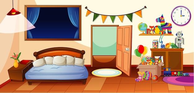 Kinderzimmer mit vielen spielzeugszenen