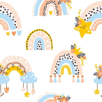 Kinderzimmer regenbogen nahtlose muster netter kindischer boho skandinavischer doodle-stil