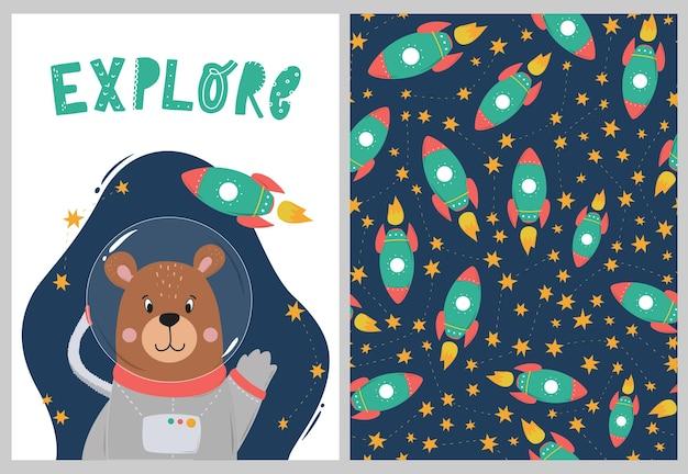 Kinderzimmer-set mit bären-astronaut und muster