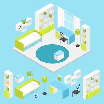 Kinderzimmer zusammensetzung in isometrischen