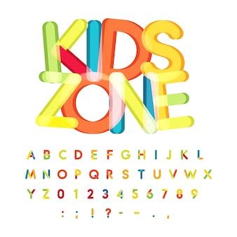 Kinderzone alphabet süßigkeiten stil bunte vektorschrift kinderparty kindergeburtstag alphabet urlaub
