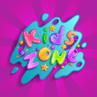 Kinderzone cartoon-logo. bunte blasenbuchstaben für kinderspielzimmerdekoration. inschrift auf hintergrund
