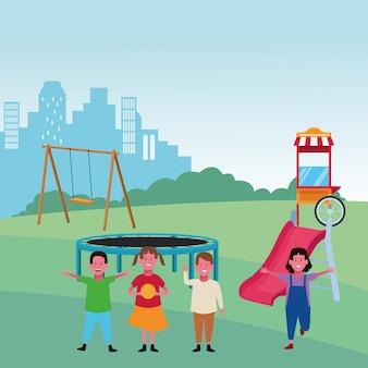 Kinderzone, glückliche jungen und mädchen mit schwingen schieben trampolinennahrungsmittelstandspielplatz-vektorillustration
