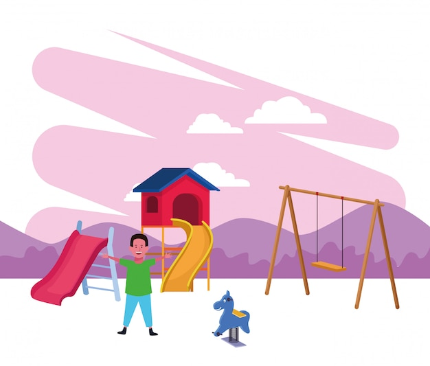 Kinderzone, glücklicher junge mit diaschaukel und frühlingspferdespielplatz