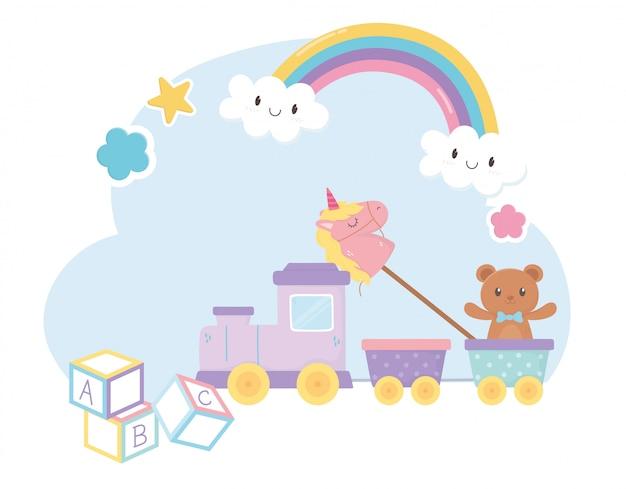 Kinderzone, zug alphabet blockiert teddybär einhorn spielzeug
